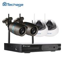 Techage 4CH 720 P HD NVR Беспроводной безопасности системы видеонаблюдения, 1.0MP 1200TVL WI-FI P2P купольная Indoor/Открытый IP Камера комплект