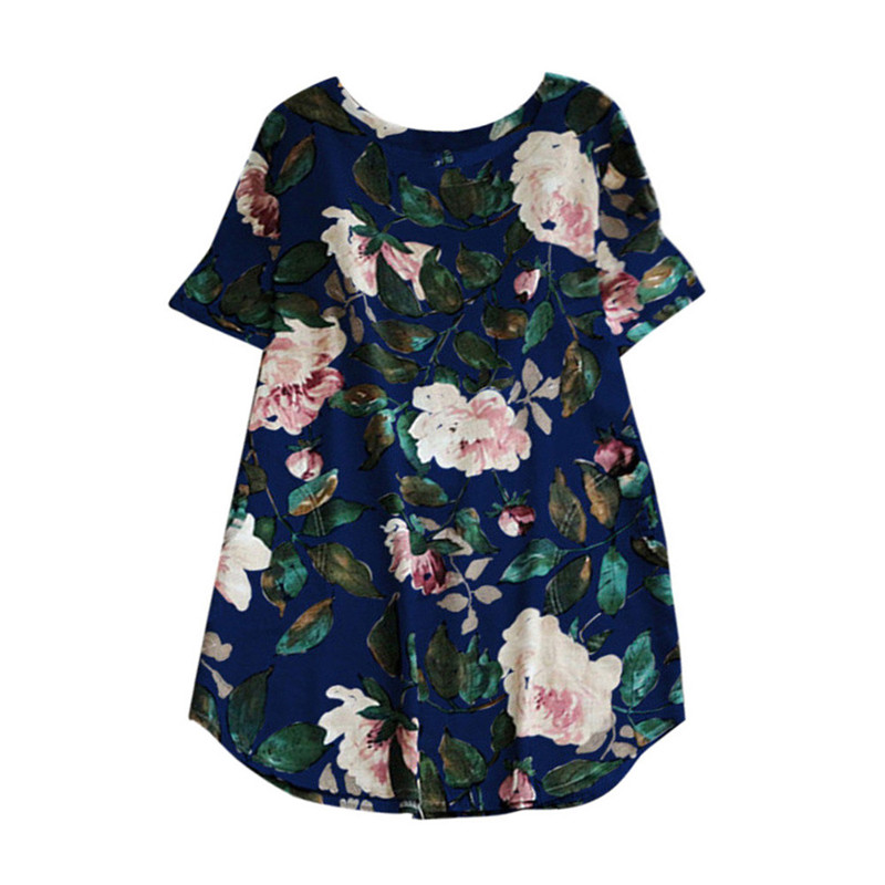 e80fd86b06 2018 Womens O Neck Floral Print Short Sleeve Cotton Linen Casual Knee  Length Mini Dress Bohemian Tunic Kaftan Plus Size 5XL  30-in Dresses from  Women s ...