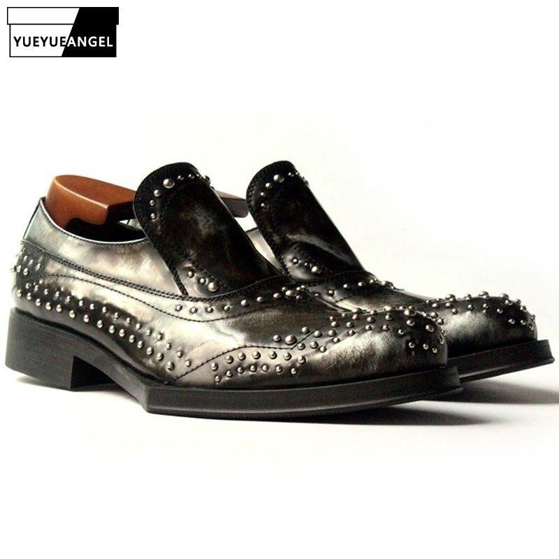 En Bout Vache Zapatos Glissement Mocassins Style Hombre Partie Chaussures Model Géométrique Semelle Classique Sur Punk Cuir Rond Rivet Hommes PtfSaI