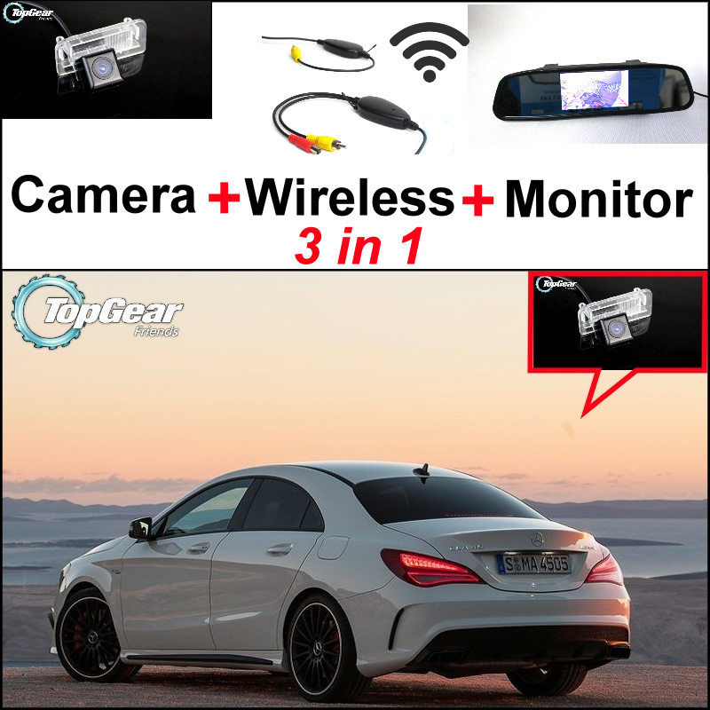 3in1 Special WiFi Camera + Wireless Receiver + Mirror Screen DIY Rear View Back Up Parking System For Mercedes Benz MB CLA C117 for ford escape maverick mariner car parking sensors rear view back up camera 2 in 1 visual alarm parking system