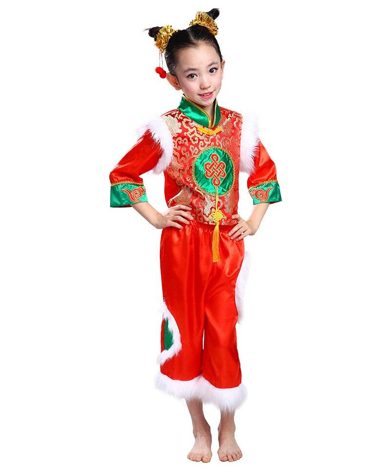 Chinese Folk Dance Costumes Childrenu0026#39;s National Costumes Yangko Dance Costume for Girl and Boy ...