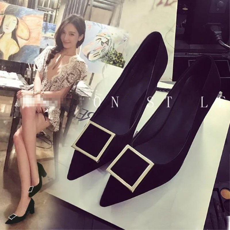 SLHJC Women Pumps Shoes 2018 Autumn Chunky Heel Fashion Pointed Toe Metal Buckle High Heel Shoes 7 cm