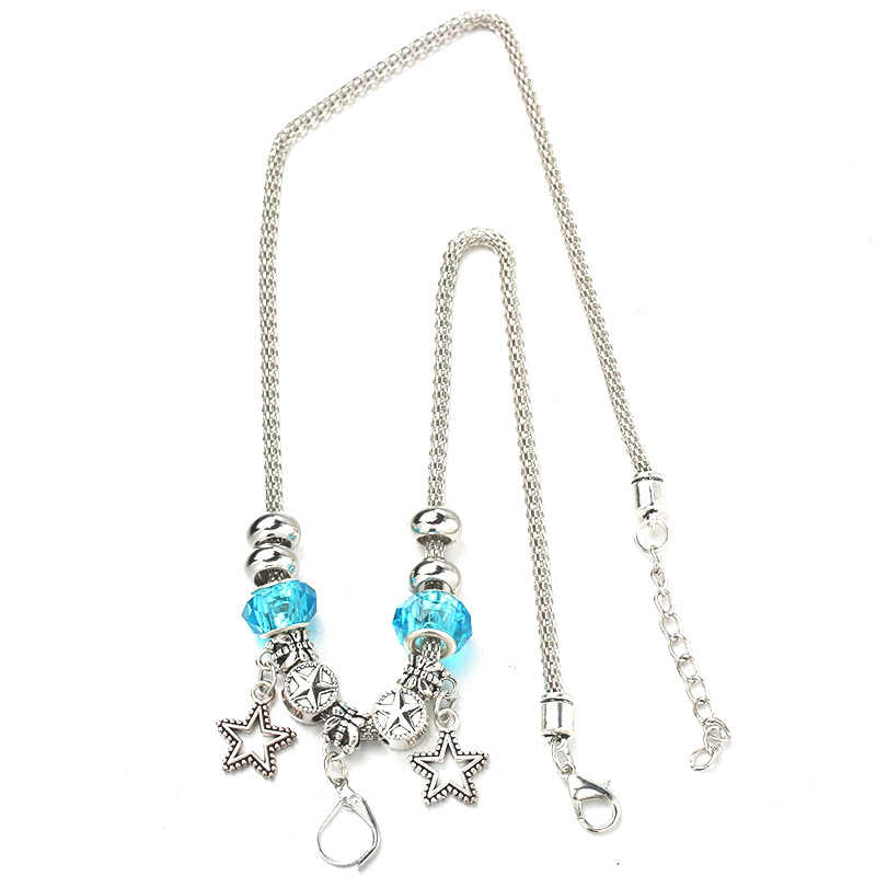 Star Necklace Bracelet Set Lobster Clasp Fine Silver Bead Hollow Chain Beaded Bracelet With Hooks DIY Making Pendant Jewelry 078