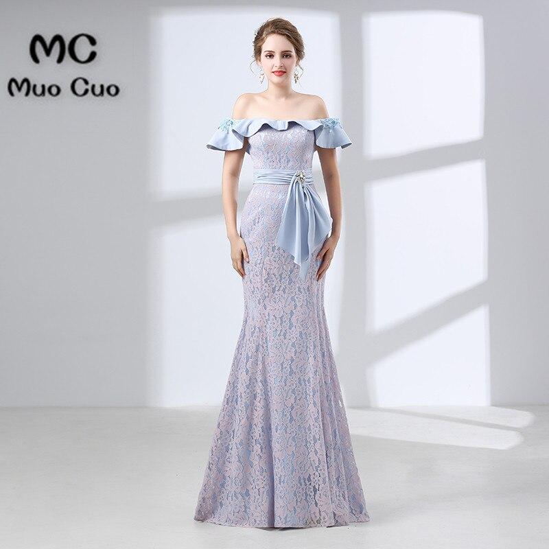 2018 Mermaid   Prom     dresses   Long with Lace   dress   for graduation Vestidos de fiesta Ruffles Formal Off Shoulder Evening   Dress   Long