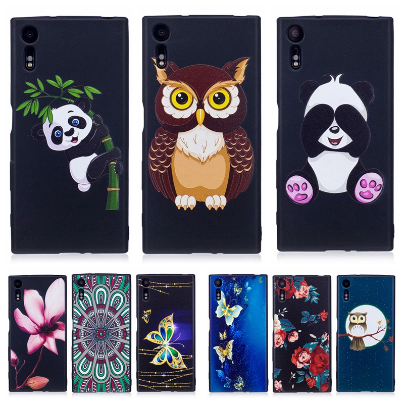 Soft Cover Case For Sony Xperia XZ F8332 3D Relief Owl Panda Flower Black Silicone Cartoon Case Funda Coque For Sony XZS G8232