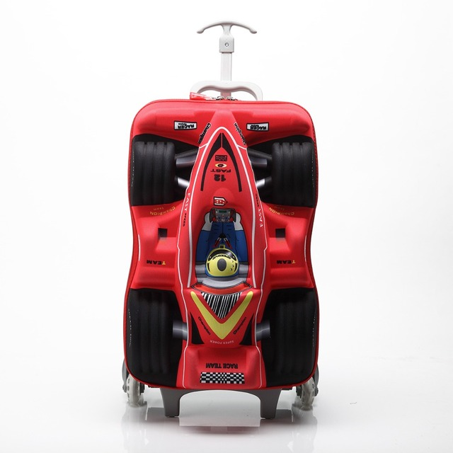 Kids Luggage Sets 15 Inch Stereo Cars Climb Stairs 36 55 L  Red Blue Green Yellow Polyester