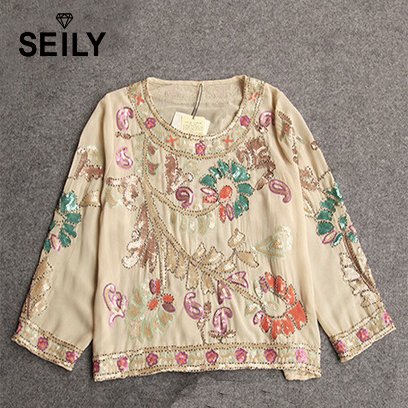 Shirt Blouse Vintage Ethnic