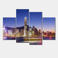 4 Panel Sets Beautiful Waterfall Landscape Painting Flowers Modern Pictures On Canvas Artwork Print Customized Picture