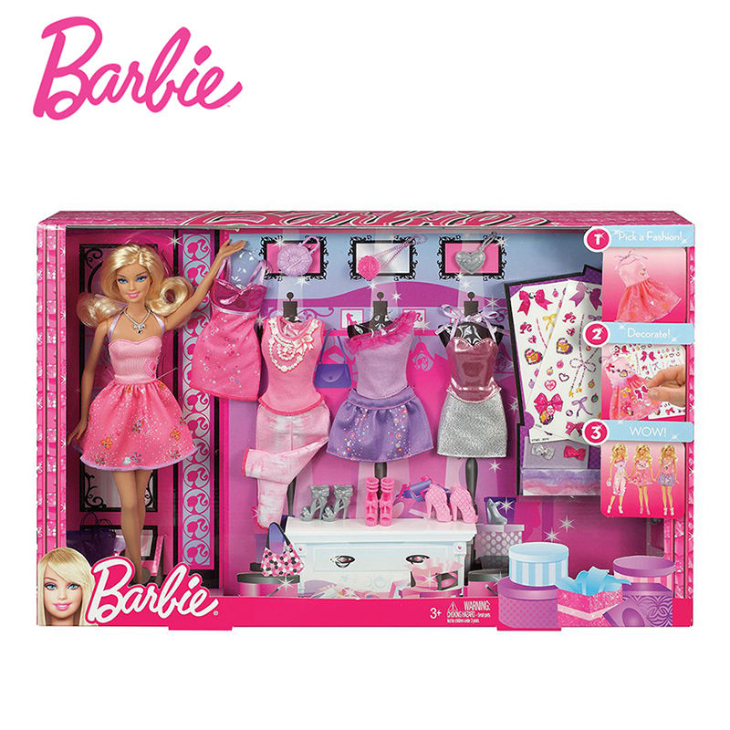 Original Barbie Doll Toys Design Collocation Gift Set With 5 Sets Of Clothes Accessories