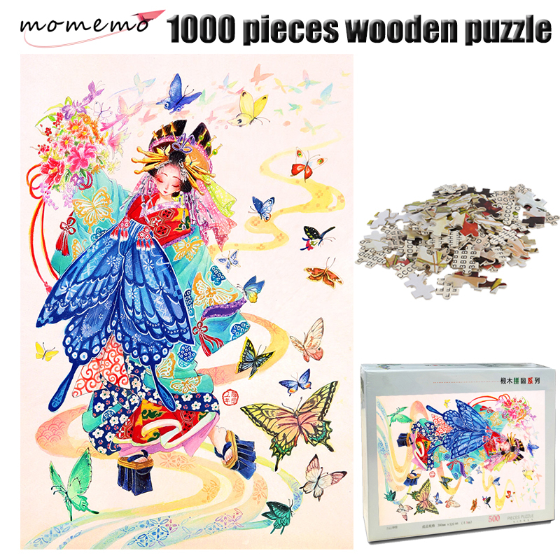 MOMEMO Butterfly and Girl Color 1000 Pieces Wooden Jigsaw Puzzle 1000 Pieces Adult Puzzle Chinese Style Hand Painted Puzzle Toys