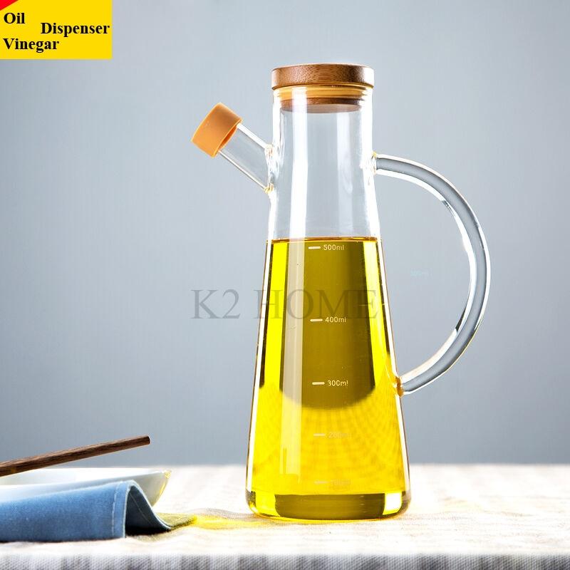 500 ML Haute Borosilicate Verre D'huile D'olive Vinaigre Pot Distributeur Bouteilles Vinaigre Peut Cruet Huile De Stockage Avec Poignée et Couvercle bouteille
