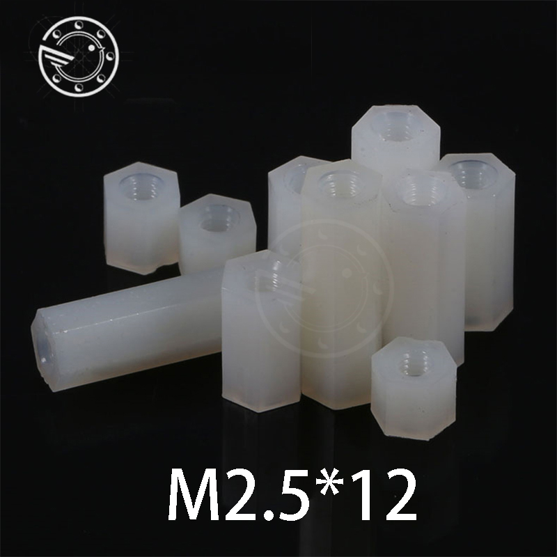 Free shipping m2.5*12 mm Hex Nylon Standoff Spacer Column Flat Head Double Pass Nylon Plastic Spacing Screws NL04 m2.5x12 mm