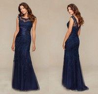 GP6 Custom Made Formal Vestido De Festa Long Navy Blue Lace Mermaid Evening Dress 2016 New