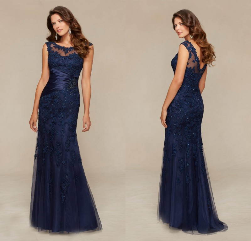 Vestidos de fiesta de encaje azul marino