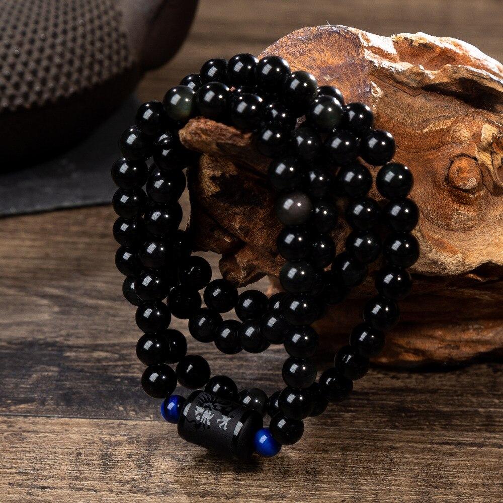 Dragon Phoenix transporte suerte con cuentas Wrap pulseras obsidiana piedras amante joyería romántica