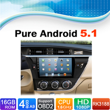 Pure Android 5.1.1 System Car Media Player Auto Radio Autoradio Car DVD Player Stereo for Toyota Corolla 2014-2015