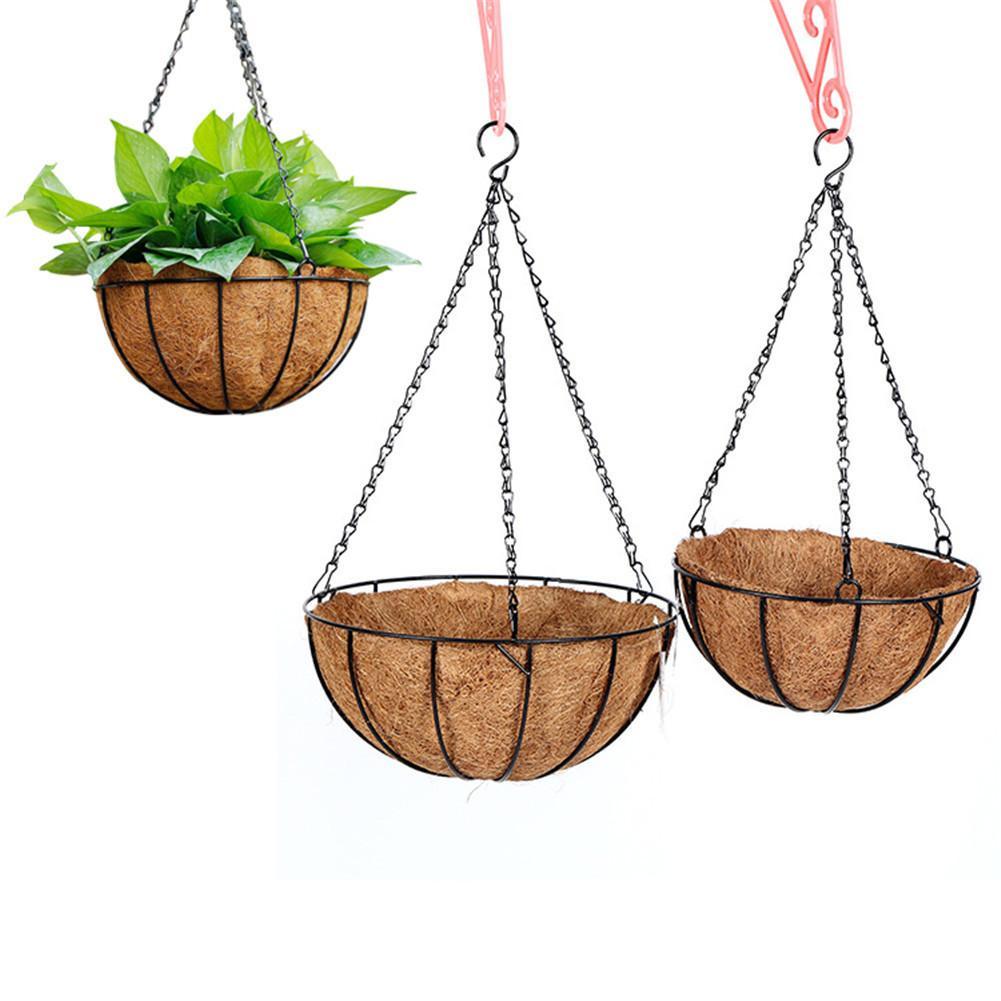 8 Inch Wire Coconut Palm Basket Iron Wall Hanging Flower Basket Balcony Fleshy Plants Flowerpots Home Gardening Decoration