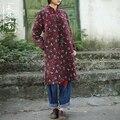 2015 Зимние женщин шлифования чистого хлопка мягкий халат лягушка мори девушка Лоскутное пальто shell свежий цветочный хлопка-ватник одежда