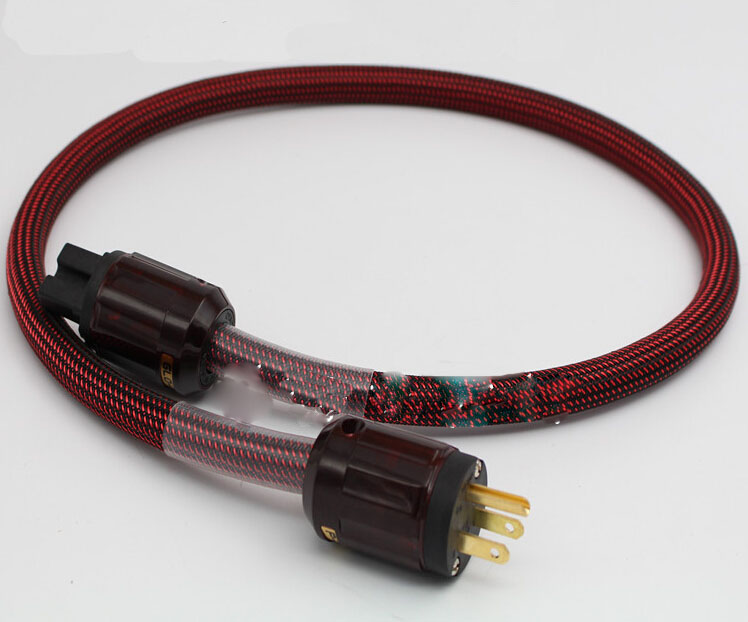 цена на 24k gold-plated copper double-layer US standard power cable for A/V components with IEC power connector 1meter