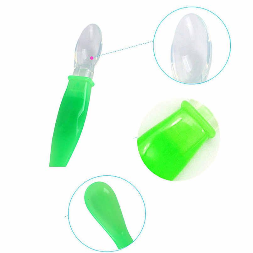 1 cuchara de alimentación para bebé de silicona suave, utensilios de alimentación para bebés, cubiertos, vajilla, cuchara de alimentación de cereales de arroz, utensilios de cubertería