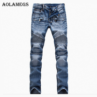 Aolamegs Men Jeans Pants Solid Pleated Slim Motorcycle Pants Full Length Trousers Summer Splicing Light Button