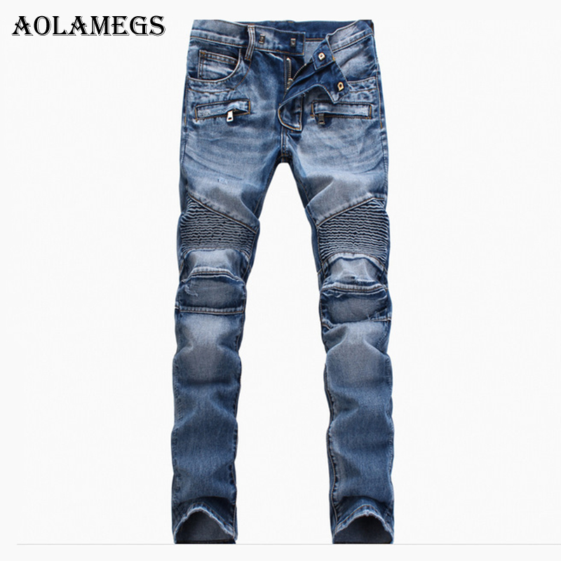 Aolamegs Men Jeans Pants Solid Pleated S