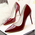 10cm pointed toe shoes shallow mouth ultra thin heels high heels spring and autumn women's japanned leather black shoes sexy