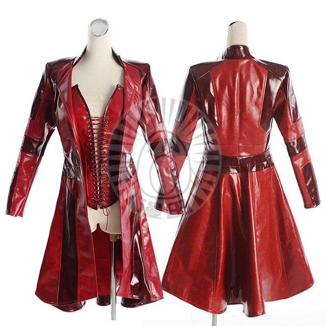 MARVEL COMICS Scarlet Witch Wanda Maximoff Cosplay Costume Halloween Uniform Top+Coat S-XL