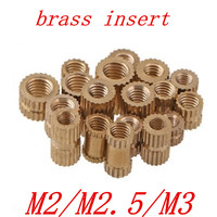 66f892a4b6a 100pcs/lot Brass insert M2 M2.5 M3 Through thread brass insert nut /  knurled nuts for injection moulding