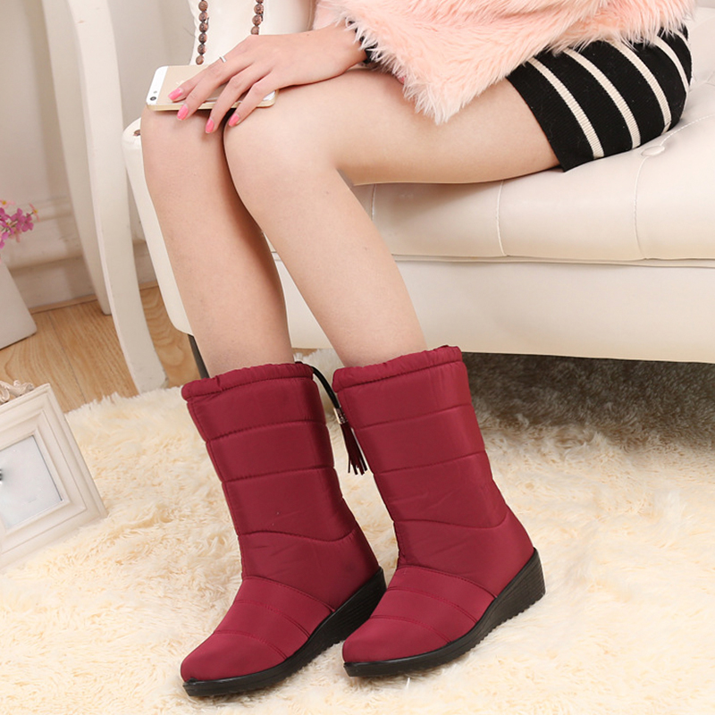 Winter Women Boots Mid-Calf Down Boots Female Waterproof Ladies Snow Boots Winter Shoes Woman Plush Insole Boots ryvba woman winter mid calf snow boots women fashion womens half knee boots ladies shoes female warm thick plush boots flats