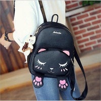 2017 Spring And Summer Fashion New Cute Cat Backpack PU Shoulder Bag Shy Cat Student School