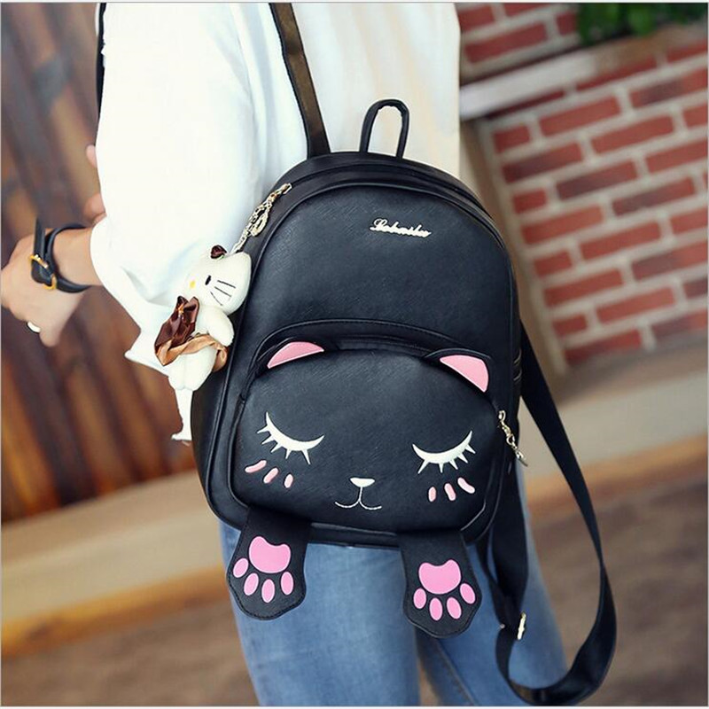 2017 Fashion Women Cute Cat Backpack PU Leather Shoulder Bag Female Student School Bag For Teenagers Girls Mochila Escola fashion women pu leather panda backpack teenagers girls cartoon school bags student book bag cute black white patchwork design