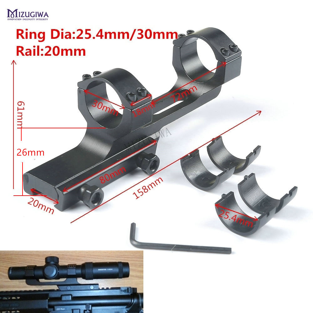 """AR 15 Scope Mount 1"""" / 30mm Ring Cantilever Tactical Heavy Duty Flat Top Offset QD Picatinny Rail 20mm Adapter Weaver Laser(China)"""