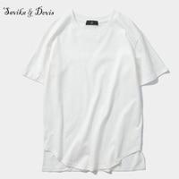 Men 2018 Fashion T-shirt Summer Cotton Solid O-Neck Arc Hem T-shirts 4 Colors