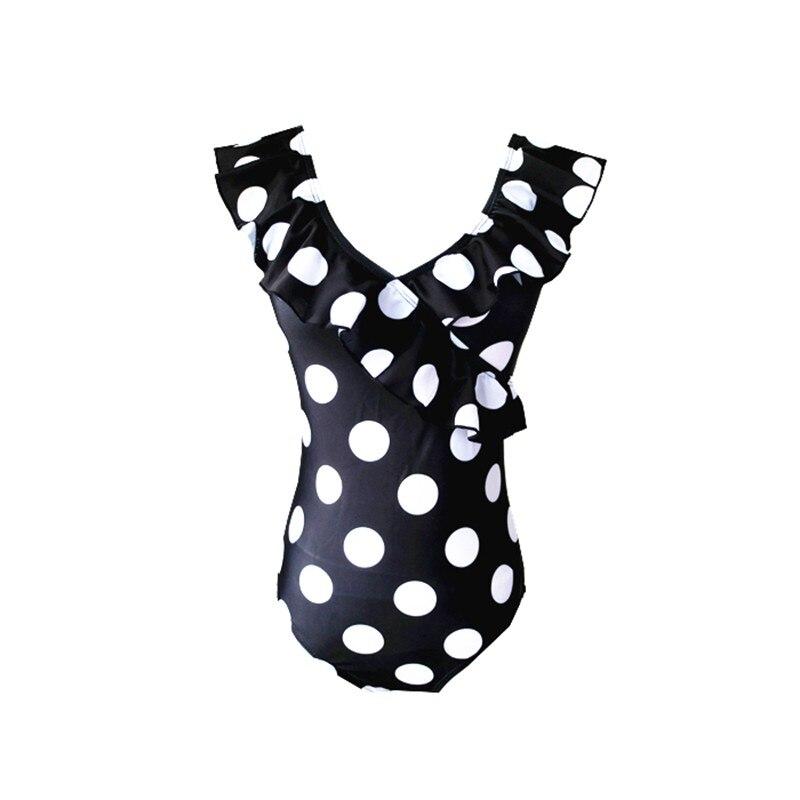 Sexy 2019 Lady V Neck Frill Ruffled Polka Dot Thong Swimwear Women One piece Swimsuit Female Swim Bathing Suit Monokini Trikini