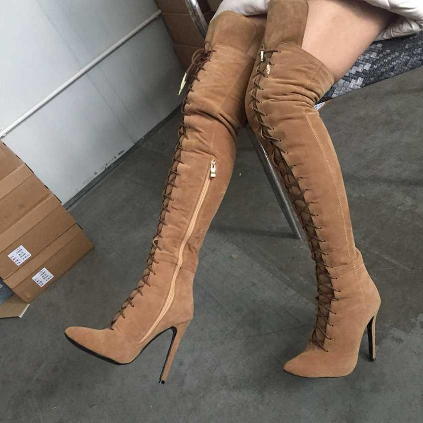 2020 Plus duży rozmiar 36-47 czarny szary Khaki wino-czerwony zamek zasznurować Sexy zakolanówki pięty nad kolana jesień pani buty damskie X1787