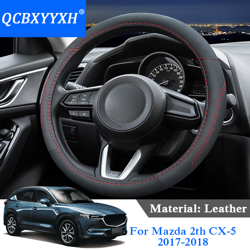 QCBXYYXH Car Styling For Mazda 2th CX 5 M3 M6 Atenza 2018 Steering Wheel Covers Leather