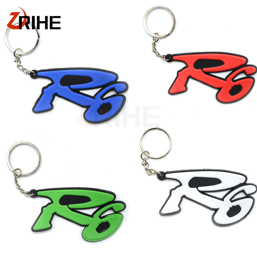 4 Colors Optional Motorcycle  Keychain Keyring Key Chain Key Ring Soft Rubber High Quality For Yamaha YZF R6 YZF R 6