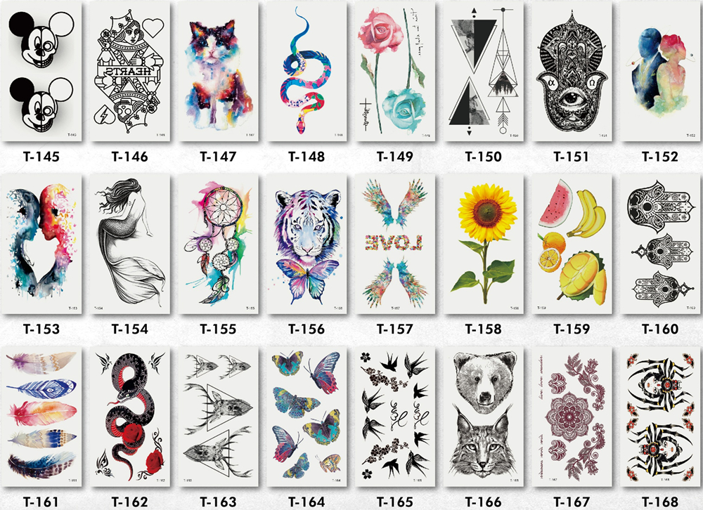 10x6cm falso triângulo flor animal tatoo men