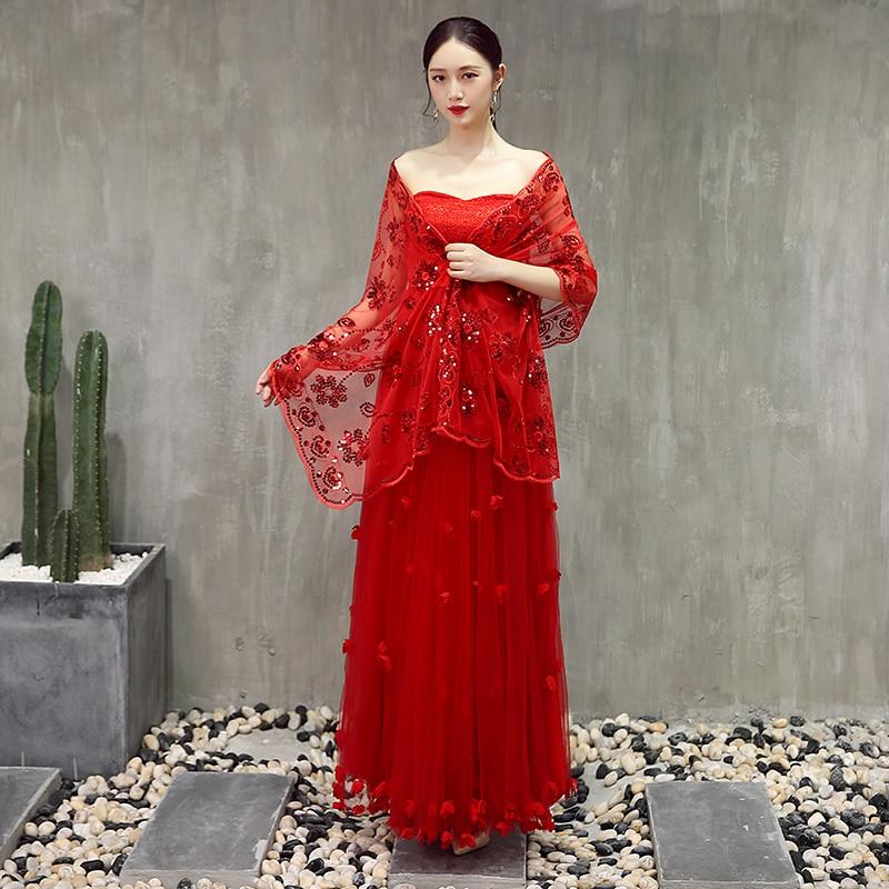 Casual Wedding Bolero Shawl Wedding Jacket Ladies Shrug Wraps With Red Sequins Beaded 2019