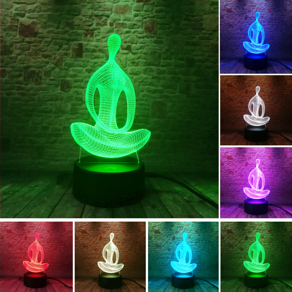 3D 7 Color Changing Yoga LED Meditation Of Acrylic Night Light Bedroom Illusion Lamp Livingroom Bedside Decor Xmas New Year Gift