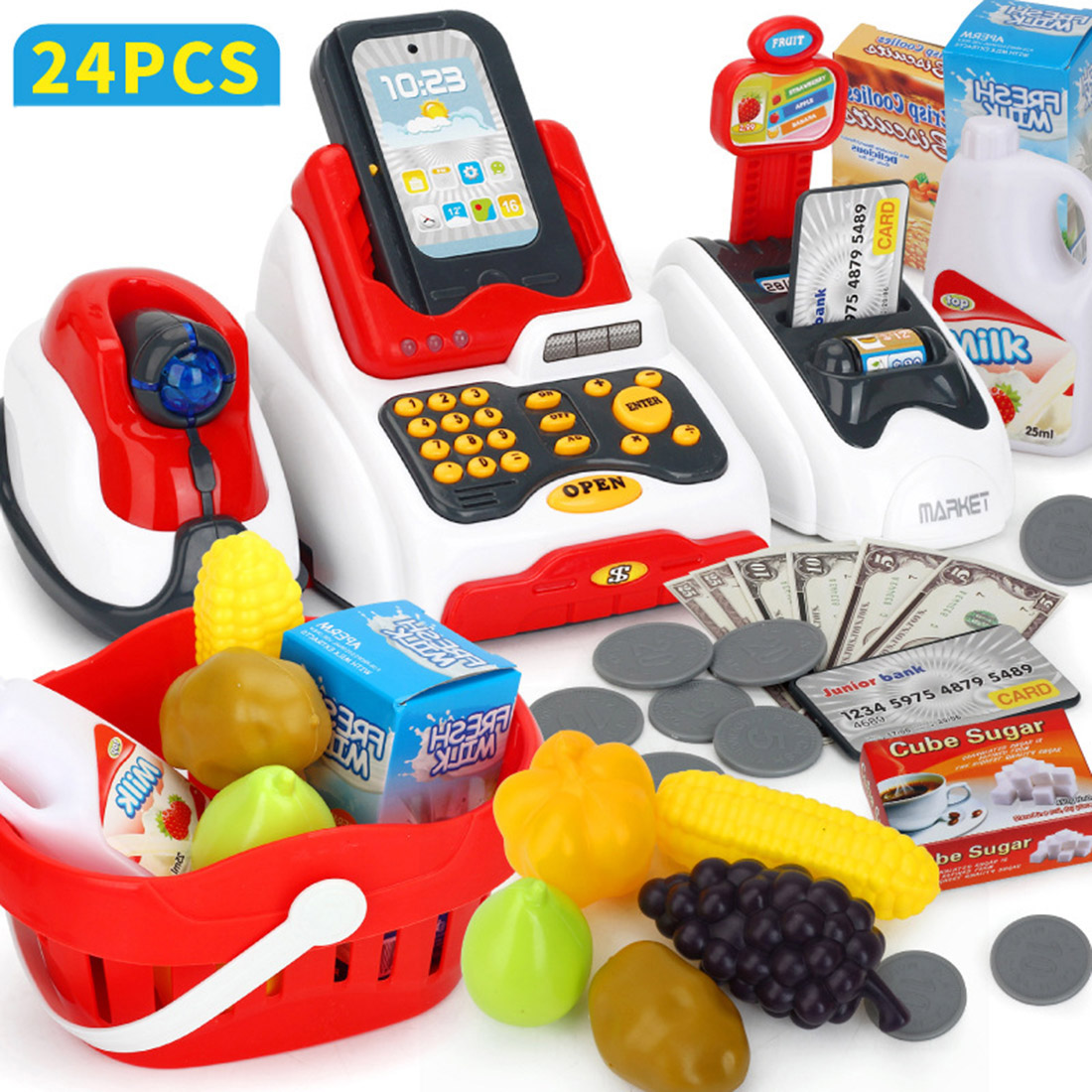 Lovely Children Pretend & Play Toys Classic Supermarket Cash Register Kits For Kids Logical Thinking Ability Development Toys