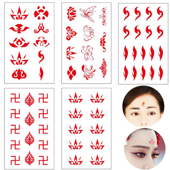Charm Red Chinese Style Eyebrow Tattoo Stickers Fake Tattoo Temporary Tatoo Body Art For Women Girl Like TV Drama Show image