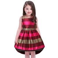 Europa America Moda Niños Ropa de Bebé Niña Princesa Vestido vino Rojo Sin Mangas de la raya de cola de Milano Vestidos de la Muchacha Del Niño Del Niño