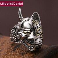 Men Ring 100% Real 925 sterling silver Jewelry Ethnic Vintage Japanese Prajna Mask LOVR Christmas Gift Ring Men jewelry MR2