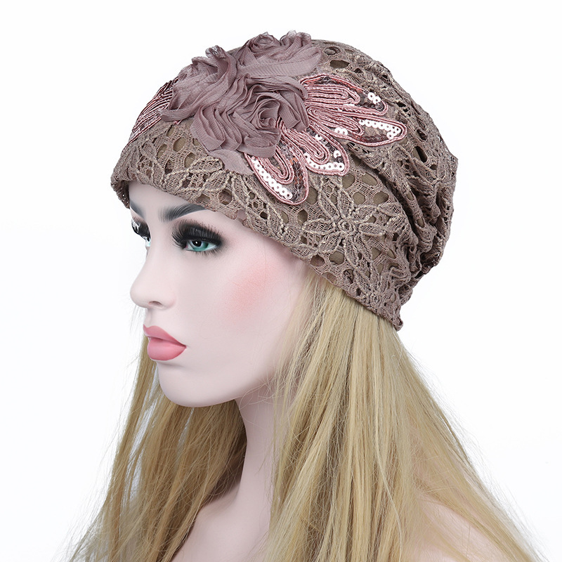 Fashion Hats Autumn And Winter Women Hollow Out Lace Cap Double-deck Flower Keep Warm beanie Free shipping women s hats and fascinators vintage sinamay sagittate feather fascinator with headband tocados sombreros bodas free shipping