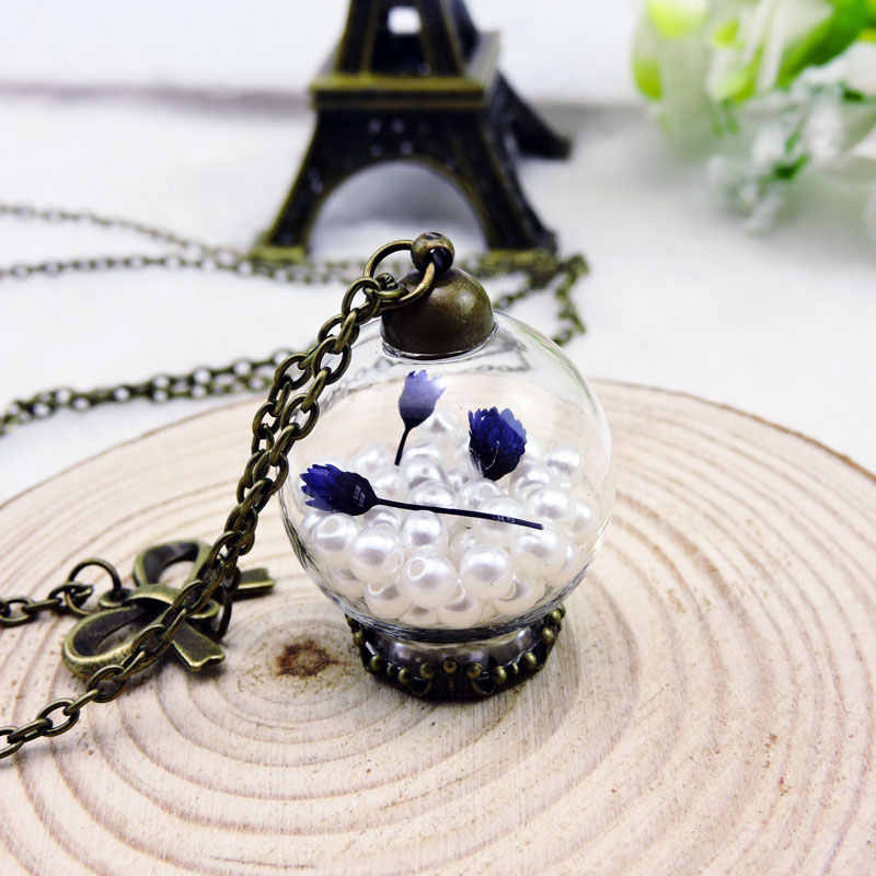 2016を希望ボトルピンクフラワーネックレス古代ボウロングチェーンペンダントネックレス女性ガラス真珠のネックレスジュエリーアクセサリー