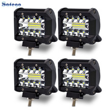 Safego 4pcs 4 Inch 60W LED Spot Work Light Bar Chips Offroad Car 4x4 Driving Lamp For Truck Boat  TR60W-SP-4