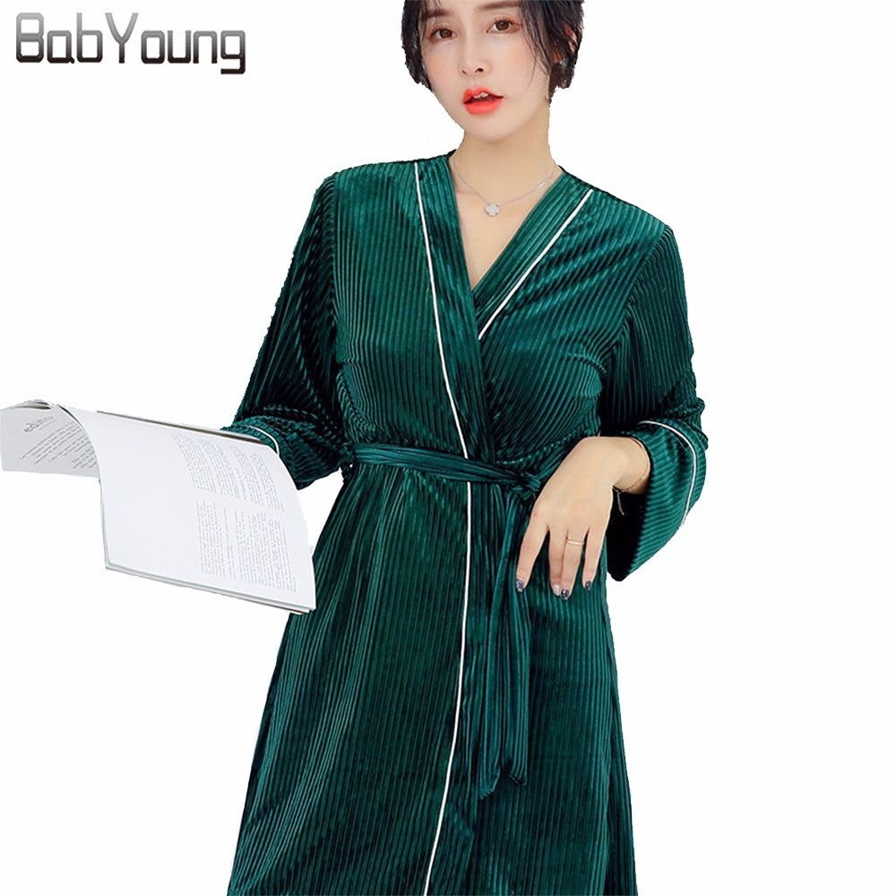 BabYoung Autumn Winter Warm Velvet Sleepwear Women   Pajamas     Set   Long Sleeve Bath Robe Sexy Nightwear Loose Pijama Mujer 3 Pcs