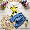 Nuevo de Styel 2017 Verano Muchachas de Los Bebés de la Historieta Arropa Sistemas Casual Trajes De Bebé De Algodón de la Camiseta + Pantalones Cortos de 2 Unidades Para Niños Niños trajes